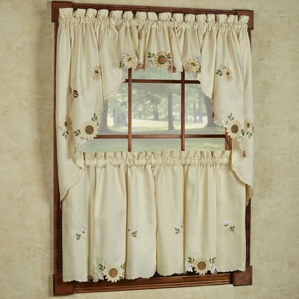 Embroidered Sunflower Kitchen Curtains Separates Tier Swag Or Valance
