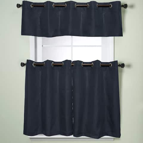 Modern Subtle Texture Solid Navy Kitchen Curtain Parts With Grommets- Tier and Valance Options