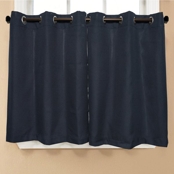 Modern Subtle Texture Solid Navy Kitchen Curtain Parts With Grommets  Tier  And Valance Options   Free Shipping On Orders Over $45   Overstock.com    17323402