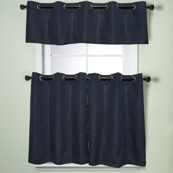 Modern Subtle Texture Solid Navy Kitchen Curtain Parts With Grommets Tier And Valance Options