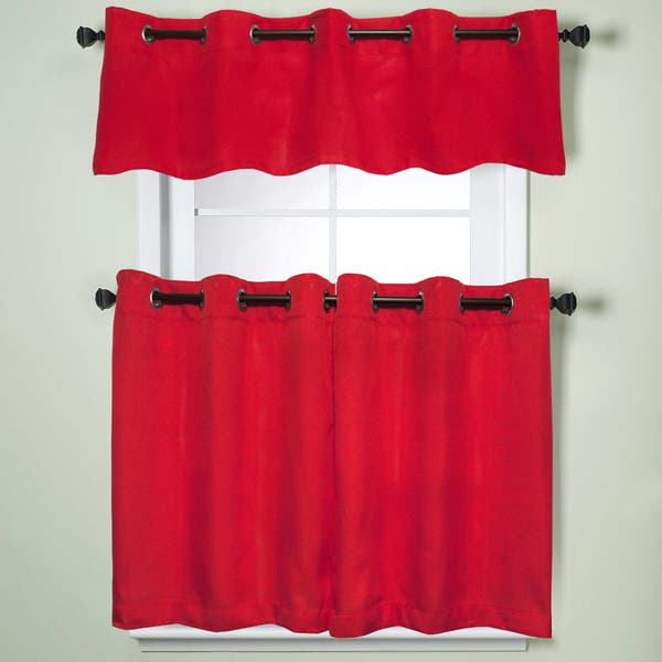Shop Modern Subtle Texture Solid Red Kitchen Curtain Parts ...