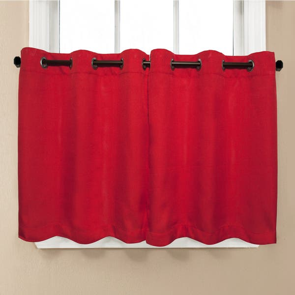 Solid Red Kitchen Curtain