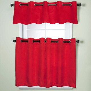 Modern Subtle Texture Solid Red Kitchen Curtain Parts With Grommets- Tier and Valance Options