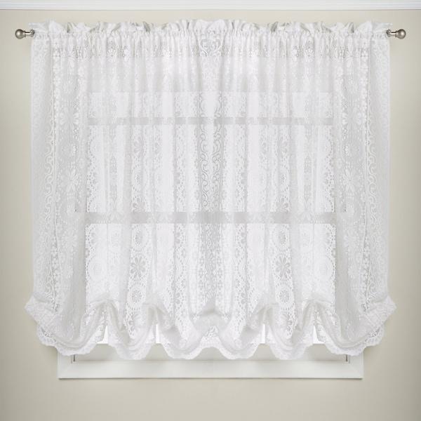 Luxurious Old World Style Adjustable White Lace Balloon Window Shade
