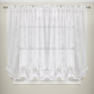 Luxurious Old World Style Adjustable White Lace Balloon Window Shade