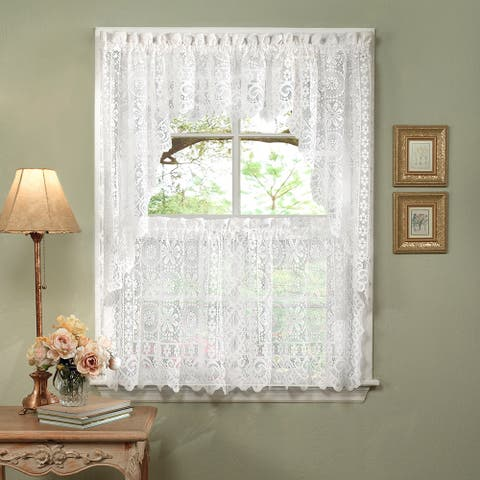 White Lace Luxurious Old World Style Kitchen Curtains Tiers Shade Or Valances