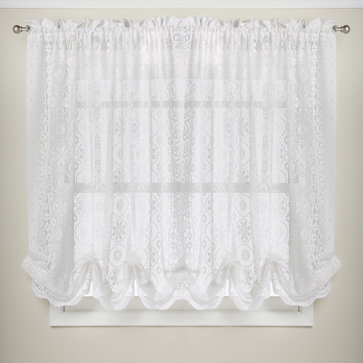 Shop White Lace Luxurious Old World-style Kitchen Curtains Tiers