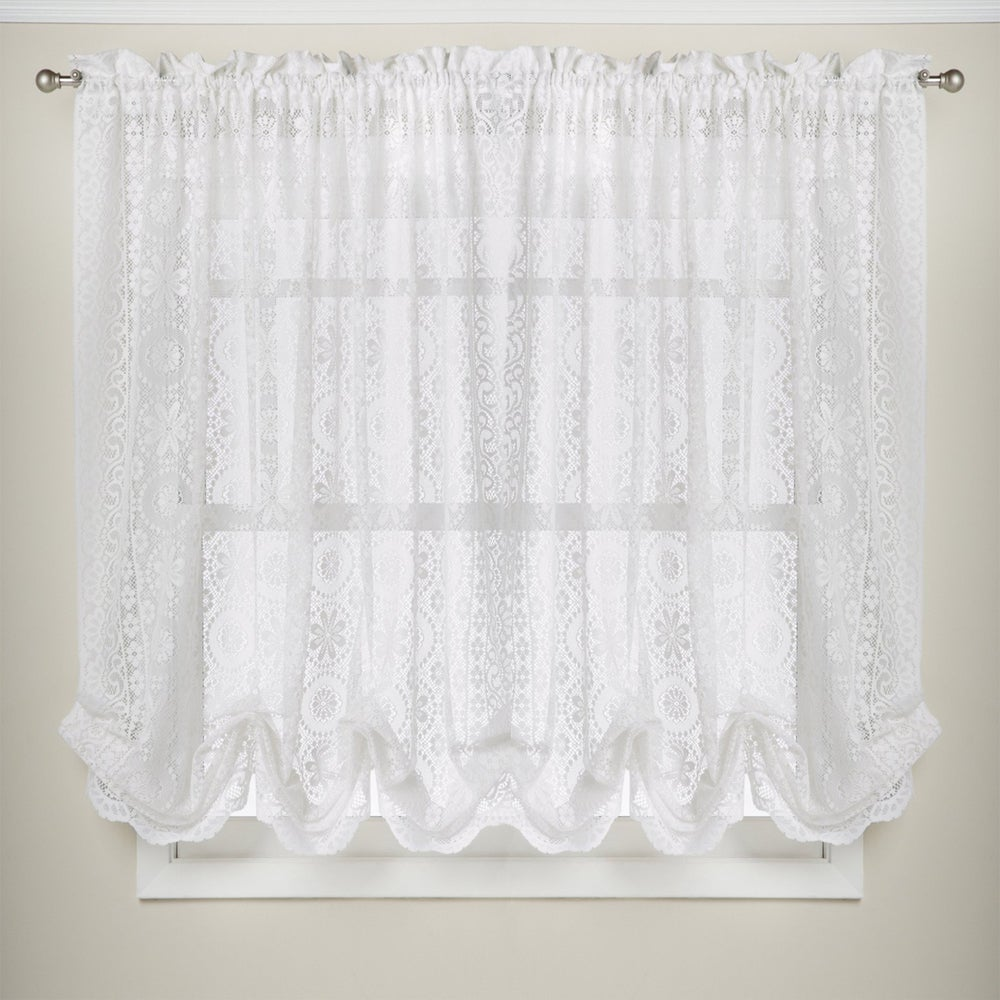 Shop White Lace Luxurious Old World-style Kitchen Curtains Tiers, Shade or Valances - 10199207