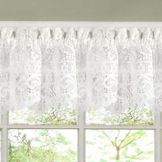 Luxurious Old World Style White Lace Kitchen Curtains Tiers, Shade and Valances (3 options available)
