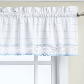 Cotton Classic White/ Blue Window Pane Pattern and Crotchet Trim Tiers, Swags and Valance Options (4 options available)