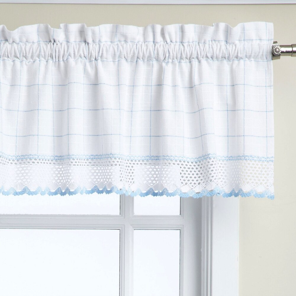 Shop Cotton Classic White/ Blue Window Pane Pattern and Crotchet Trim Tiers, Swags and Valance Options - 10199210