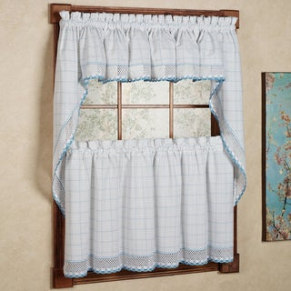 Cotton Classic White/ Blue Window Pane Pattern and Crotchet Trim Tiers, Swags and Valance Options