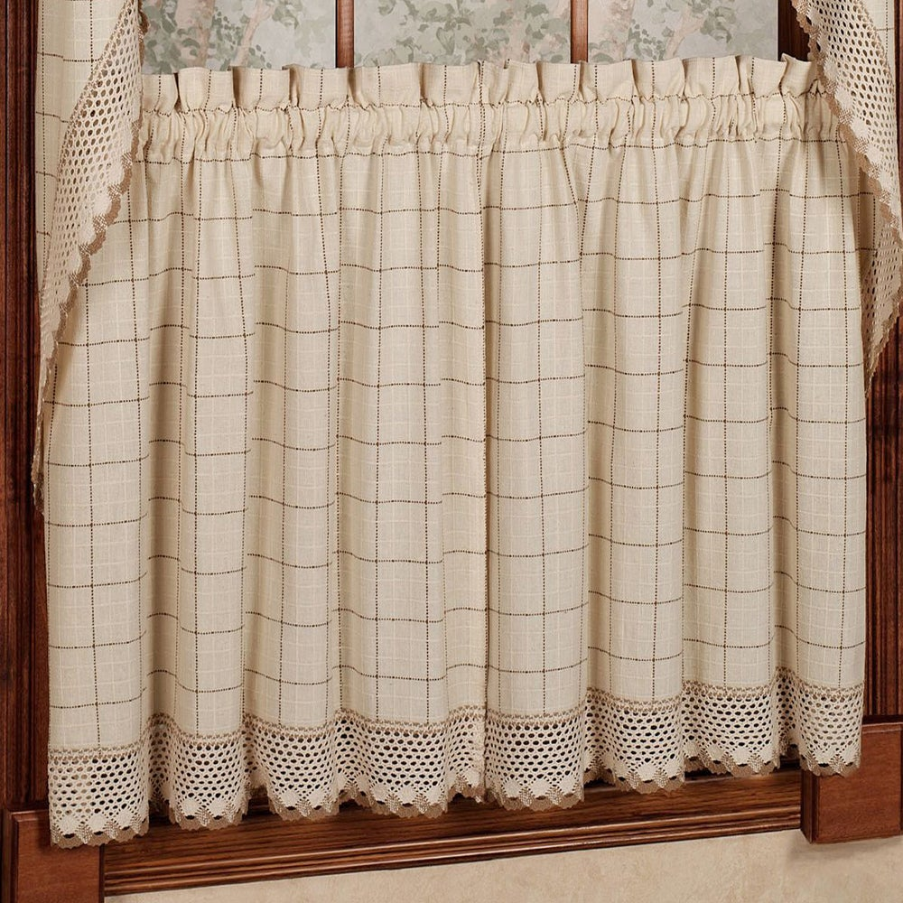 Shop Cotton Classic Toast Window Pane Pattern and Crotchet Trim Tiers, Swags and Valance Options - 10199213