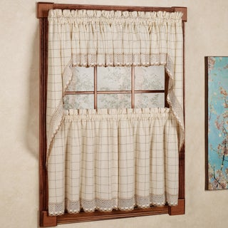 Cotton Classic Toast Window Pane Pattern and Crotchet Trim Tiers, Swags and Valance Options (3 options available)