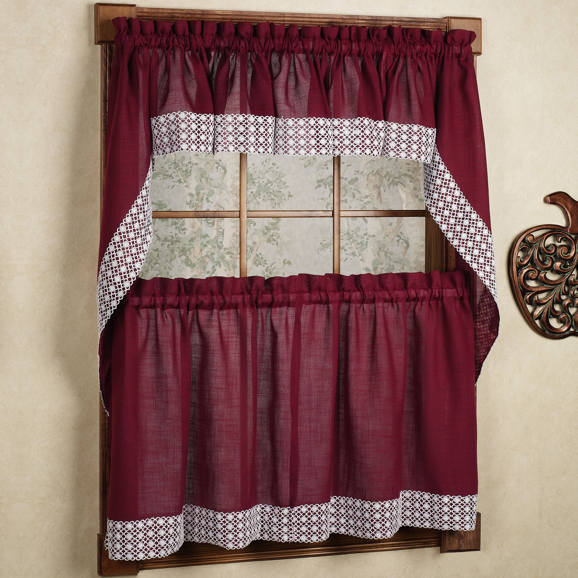 Burgundy Country Style Kitchen Curtains with White Daisy ...