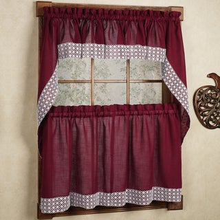 Burgundy Country Style Curtain Parts with White Daisy Lace Accent- Tier, Swag and Valances