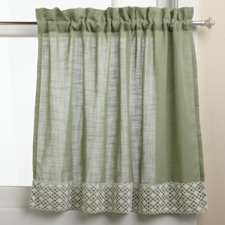 Sage Country Style Curtain Parts with White Daisy Lace Accent (Separates-Tiers, Swags and Valances) (4 options available)