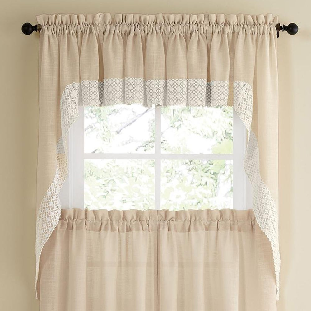 Shop French Vanilla Country Style Curtain Parts with White Daisy Lace Accent- Tier, Swag and Valance Options - 10199223