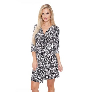 White Mark Women's 'Mariah' Trellis Print Wrap Dress