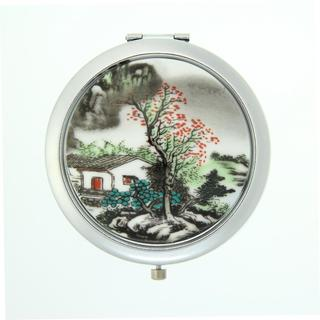 Handmade Porcelain Chinese Scenery Cosmetic Mirror (China)