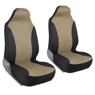 BDK Rome Flat Cloth Black/ Tan Front Pair of Bucket Seat Covers