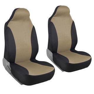 BDK Rome Flat Cloth Black Tan Front Pair Of Bucket Seat Covers
