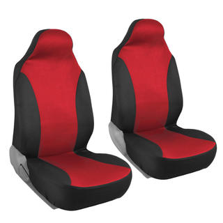 BDK Rome Flat Cloth Black/ Red Front Pair of Bucket Seat Covers