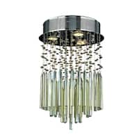 Modern Beaded Crystal 3-light Halogen Golden Teak Crystal 12-inch Raindrop Flush Mount Ceiling Light