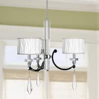 """Cutlass 3-light Arm Crystal Chandelier with White Fabric Drum Shade 25""""x26"""""""