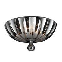 Metro Candelabra 3-light Chrome Finish and Smoke Crystal 12-inch Bowl Flush Mount Ceiling Light