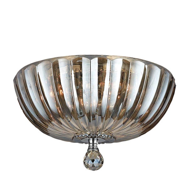 Contemporary 4 light chrome finish and golden teak crystal 14 inch bowl flush mount ceiling Home decorators collection 4 light chrome flush mount