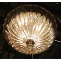 Metro Candelabra 4-light Chrome Finish and Golden Teak Crystal 14-inch Bowl Flush Mount Ceiling Light