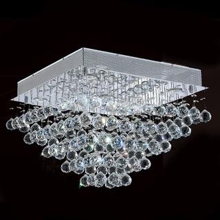 Modern 5-light Halogen Chrome Finish Drops of Rain Crystal 20-inch Square Flush Mount Ceiling Light