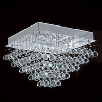 Crystal Rain Drop 5-light Halogen Chrome Finish Drops of Rain Crystal 20-inch Square Flush Mount Ceiling Light