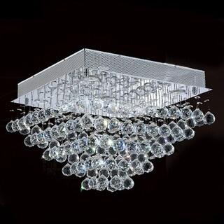 Crystal Rain Drop 5-light Halogen Chrome Finish Drops of Rain Crystal 20-inch Square Flush Mount Ceiling Light