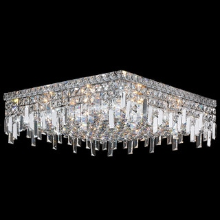 Glam Art Deco Style 12-light Faceted Crystal 20-inch Square Flush Mount Ceiling Light