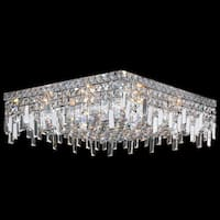 Glam Art Deco Style 12-light Faceted Crystal 20-inch Large Square Flush Mount Ceiling Light