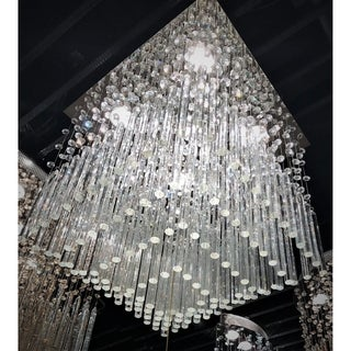 Modern Beaded Crystal 5-light Halogen Chrome Finish Raindrop Crystal 16-inch Square Flush Mount Ceiling Light