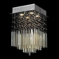 Modern Beaded Crystal 4-light Halogen Chrome Finish and Golden Teak Crystal Raindrop Square Flush Mount Ceiling Light