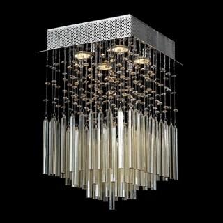 Modern Beaded Crystal 4-light Halogen Chrome Finish and Golden Teak Crystal Raindrop Square Flush Mount Ceiling Light