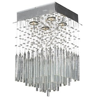 Metro Candelabra 4-light Halogen Chrome Finish Raindrop Crystal Square Flush Mount Ceiling Light