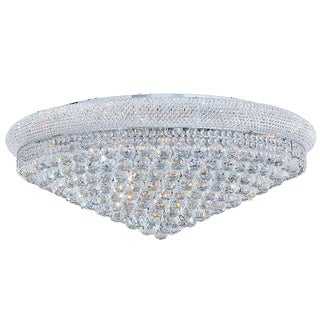 French Empire Collection 20-light Chrome Finish and Clear Crystal Flush Mount Ceiling Light