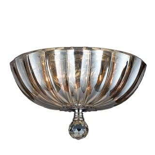 Metro Candelabra 3-light Chrome Finish and Golden Teak Crystal 12-inch Bowl Flush Mount Ceiling Light