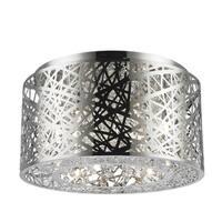 Metro Candelabra 7-light LED Chrome Finish and Clear Medium Crystal Flush Mount Ceiling Light