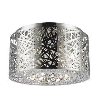 Metro Candelabra 7-light LED Chrome Finish and Clear Medium Crystal Flush Mount Ceiling Light