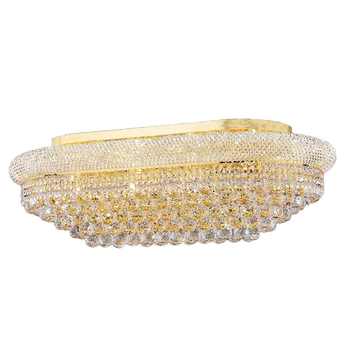 """US BRAND French Empire 3 Light Gold finish Crystal Flush Mount Ceiling Small 8/"""""""