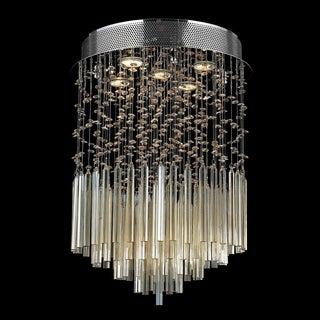 Modern Beaded Crystal 5-light Halogen Golden Teak Raindrop Crystal Flush Mount Ceiling Light