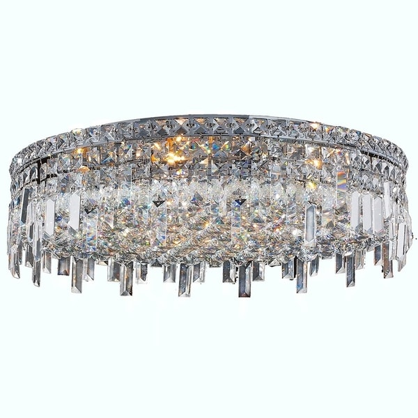 Glam art deco style 9 light faceted crystal 24 inch round large glam art deco style 9 light faceted crystal 24 inch round large flush mount aloadofball Choice Image