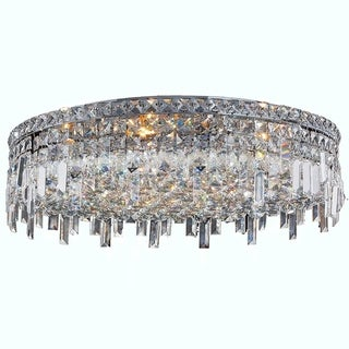 Glam Art Deco Style 9-light Faceted Crystal 24-inch Round Large Flush Mount Ceiling Light