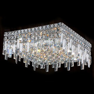 Glam Art Deco Style 6-light Faceted Crystal 16-inch Square Flush Mount Ceiling Light